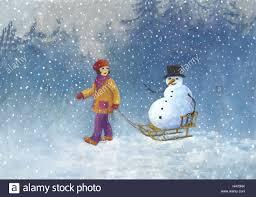 subscription child snowman slide drag snowing illustration