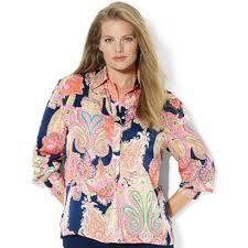 plus size silk blouse lyst by ralph plus size paisleyprint satin blouse