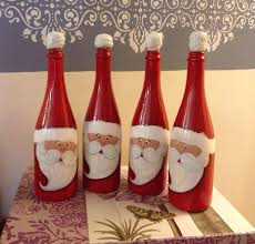 wine bottle christmas ideas creative ideas diy christmas painted glass bottle santa