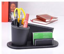 Promotional Desk Accessories Unique Novelty Wood Leather Abnormal Desk Pen Box With Name Card
