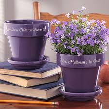 personalized flower pot personalized flower pots for teachers purple gifts