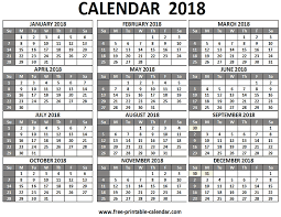 printable calendar year on one page free printable 2018 calendars download free 2018 calendar