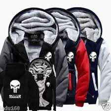 punisher unisex men woman skull winter fleece thicken jacket coat