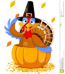 thanksgiving turkey in the pumpkin stock vector image 27397289