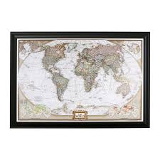World Map Quilt Amazon Com Executive World Push Pin Travel Map With Black Frame