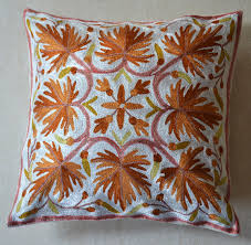 Embroidery Designs For Bed Sheets For Hand Embroidery Kashmiri Hand Embroidered Cushion Covers Pashmina Golden