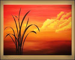 easy acrylic painting on canvas sunset palm landscape seascape