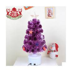 60cm pink fiber optic christmas tree decorations scene with led