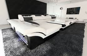 Big Sectional Couch Big Sectional Sofa Monza U Shaped With Led Lights White Black Ebay