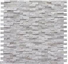 Split Face Stone Backsplash by White Oak Splitface Marble Mosaic Tile