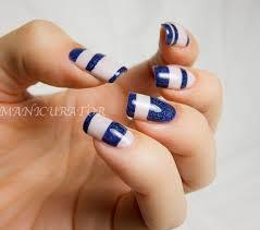 general gorgeous white blue marble stripe block nail art design