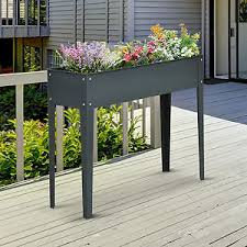 outsunny raised flower bed vegetable planter 3 hole elevated plant