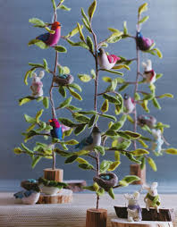 tree of small tree with bird and nest ornaments nova68