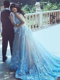 buy a line sequare chapel train sleeveless blue tulle wedding