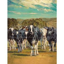 creation of the cow print featuring holstein cows grass