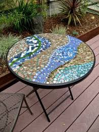 Mosaic Bistro Table Round Handmade Mosaic Tile Bistro Table By Magpielang On Etsy