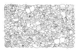 Noel doodle pere noel  Noël  Coloriages difficiles pour adultes