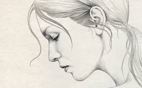 simple pencil sketches of girls side faces simple pencil drawing
