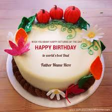 write father name on beautiful flower birthday cake