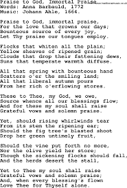 thanksgiving and harvest hymns songs praise to god immortal