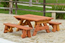 Wooden Picnic Tables With Separate Benches Kid Size Wood Picnic Table With Detached Benches Forever Redwood