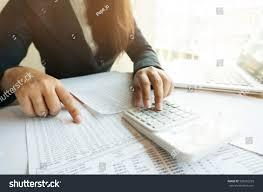 Financial Calculator Spreadsheet Accountant Working Women Uses Calculator Spreadsheet Stock Photo