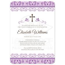 holy communion invitations ornate purple damask holy communion or confirmation invitation