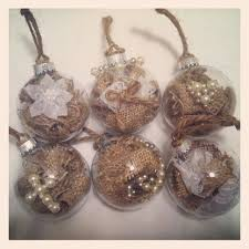 rustic burlap ornaments with pearl embellishments what