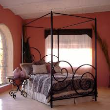 bedroom king black canopy bed features black polished oak wood
