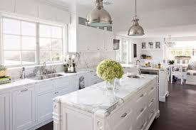 white marble kitchen island beautiful traditional kitchen silver pendant lights with