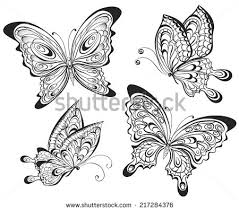 vector set of black calligraphic butterflies isolated on white