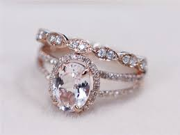 Pink Wedding Rings by 2 Rings Set Vs 7x9mm Pink Morganite Ring With Diamond Matching