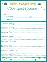 new year u0027s eve time capsule printable time capsule free