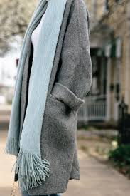 march madness oversized gray coat mint scarf straight leg jeans