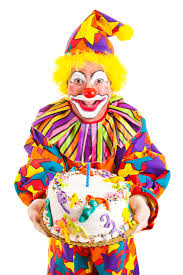 clown balloon l birthday clown with cake stock image image of candle 17689345