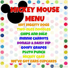 mickey mouse party mickey mouse birthday party menu mad in crafts