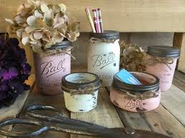 chic office decor mason jar office set flower vase shabby chic rustic office