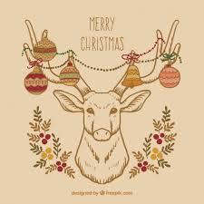 hand drawn christmas reindeer card vector premium download