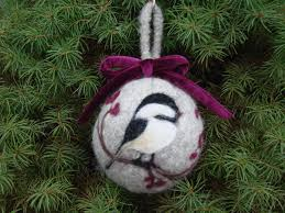 felted christmas ornament with needle punch chicadee felt