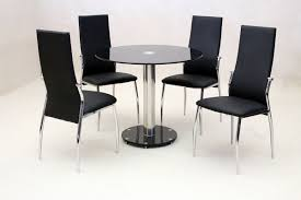 Glass Dining Table 4 Chairs Chair Square Glass Dining Table For 4 And Black Armless Chairs Set