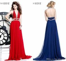 luxury red blue halter open back prom dresses beads applique
