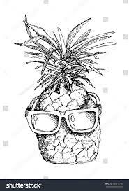 vector sketch pineapple sunglasses stock vector 435213706