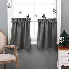 Half Window Curtain Amazon Com Nicetown Half Window Blackout Curtains Rod Pocket