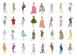 vintage cocktail party illustration groovy 60s paper doll clip art retro fashion printables mod