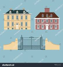 Georgian Architecture by English Old Houses Gate Georgian Architecture Stock Vector