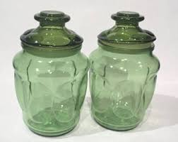glass kitchen storage canisters green glass canister etsy
