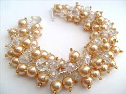 pearl bracelet designs images Champagne gold pearl bracelet bridal jewelry wedding pearl jpg
