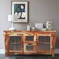 ranch solid wood glass doors buffet cabinet