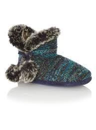 womens boots tu womens blue fur lined slub slipper boots tu clothing