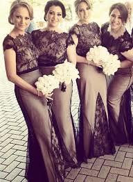 of honor dresses 2018 mermaid bridesmaid dresses sheer black lace overlay
